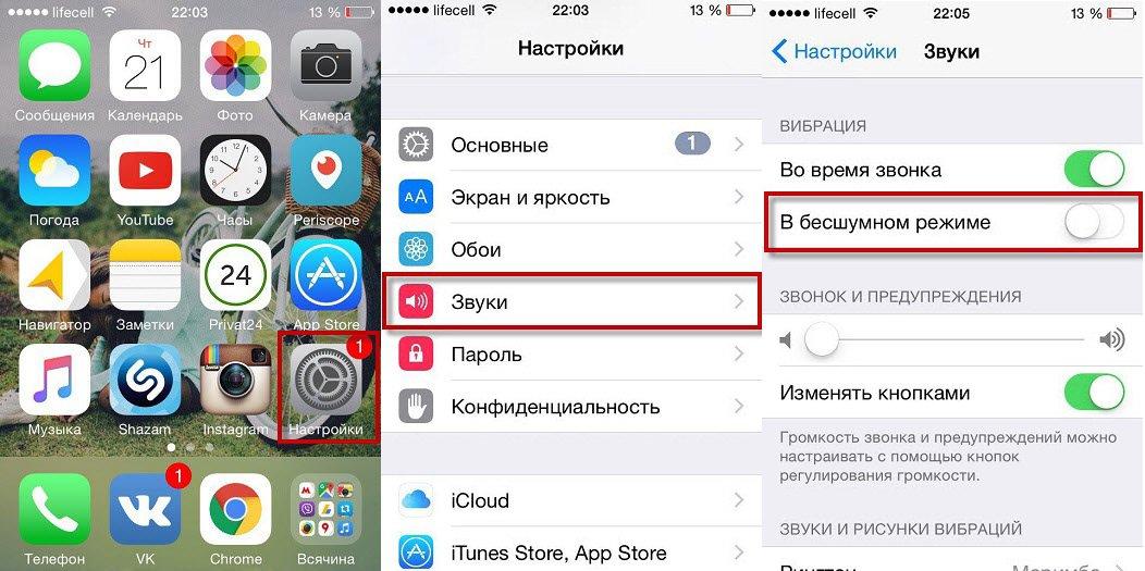 Алгоритм включения/отключения вибрации на iPhone
