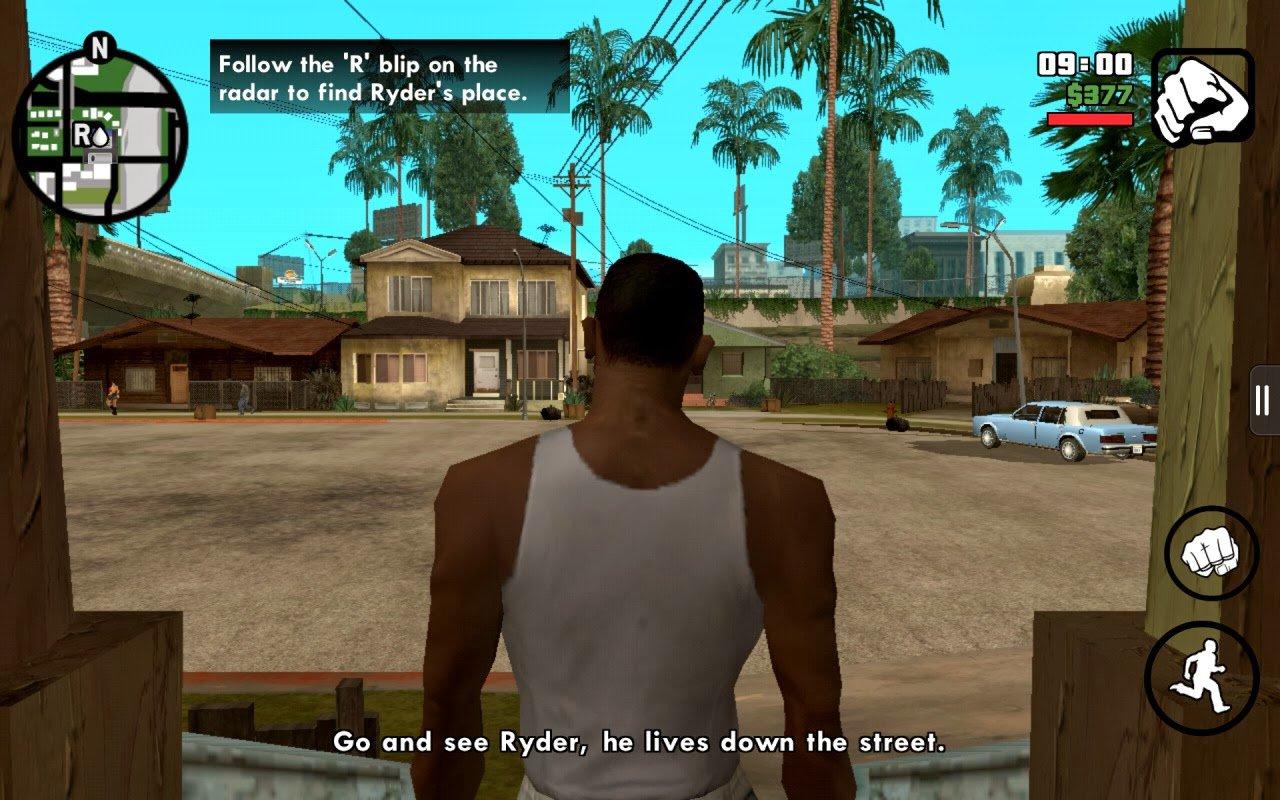 CJ в самом начале игры