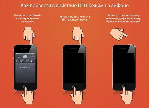 Алгоритм перевода Айфона в режим DFU