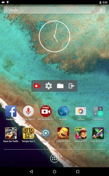 Интерфейс AZ Screen Recorder интуитивно понятен и легок в освоении